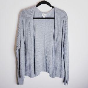 Kim Rogers gray knit cardigan sweater open face 3x